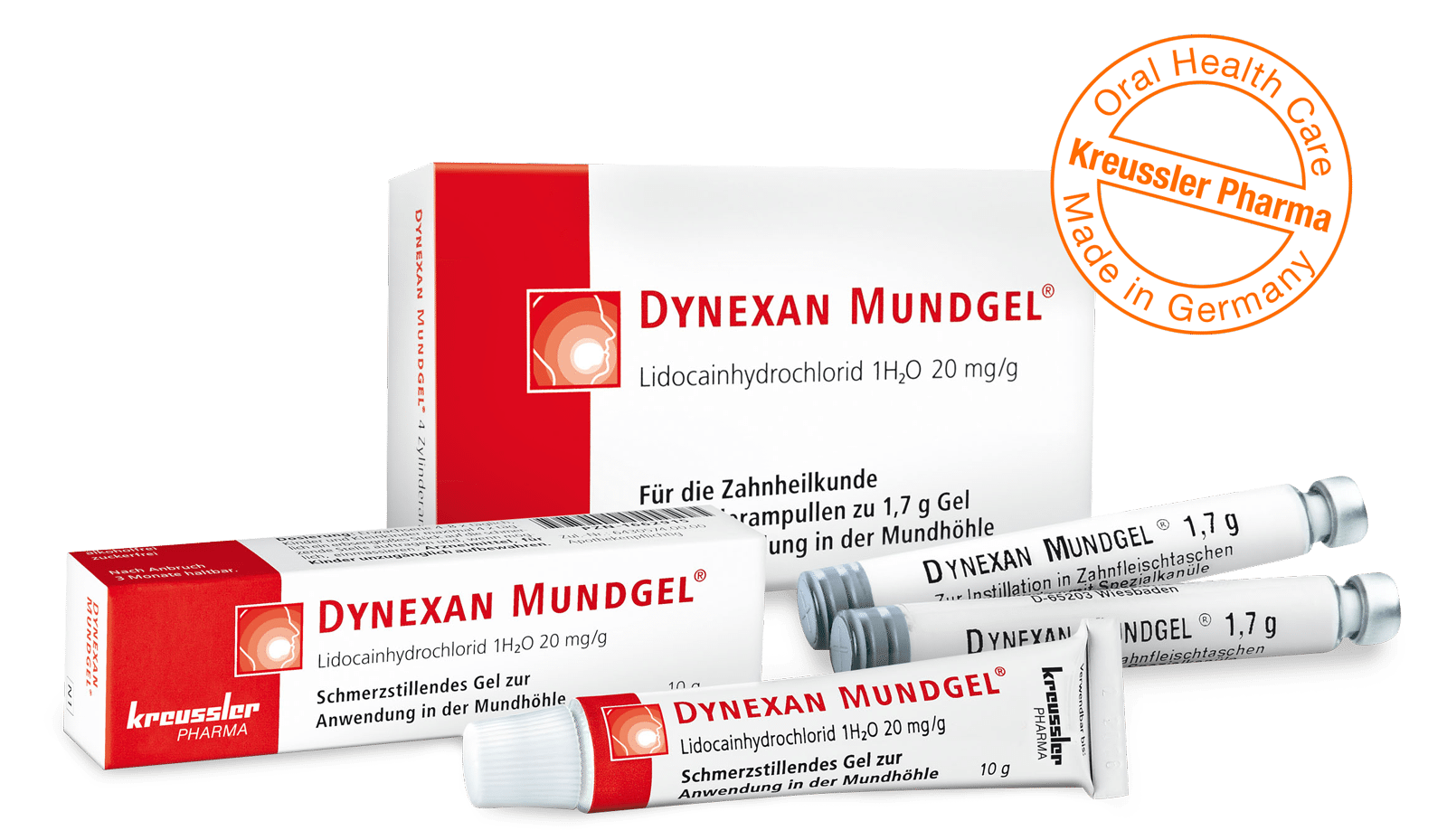 Kreussler Pharma - DYNEXAN MOUTH GEL - Tube and cylindrical ampoules